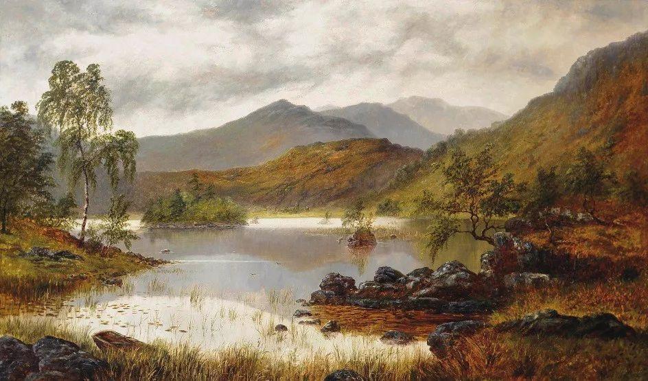 沐浴在温暖、明亮阳光下的原始风景,英国艺术家威廉·梅勒插图