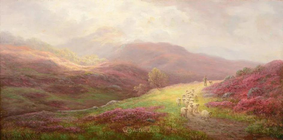 沐浴在温暖、明亮阳光下的原始风景,英国艺术家威廉·梅勒插图1