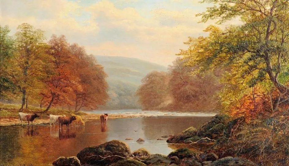 沐浴在温暖、明亮阳光下的原始风景,英国艺术家威廉·梅勒插图2