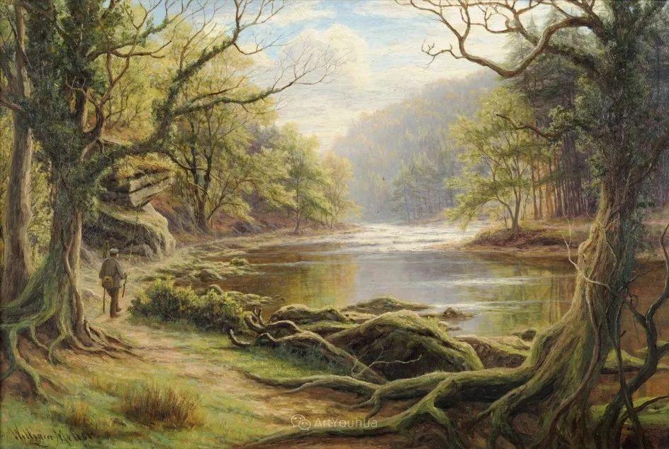 沐浴在温暖、明亮阳光下的原始风景,英国艺术家威廉·梅勒插图3