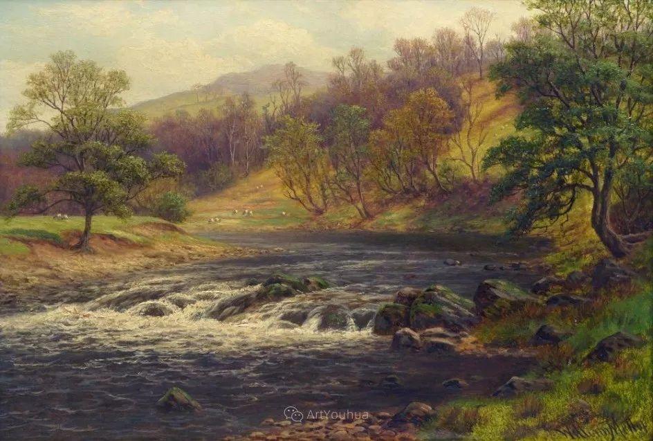 沐浴在温暖、明亮阳光下的原始风景,英国艺术家威廉·梅勒插图8
