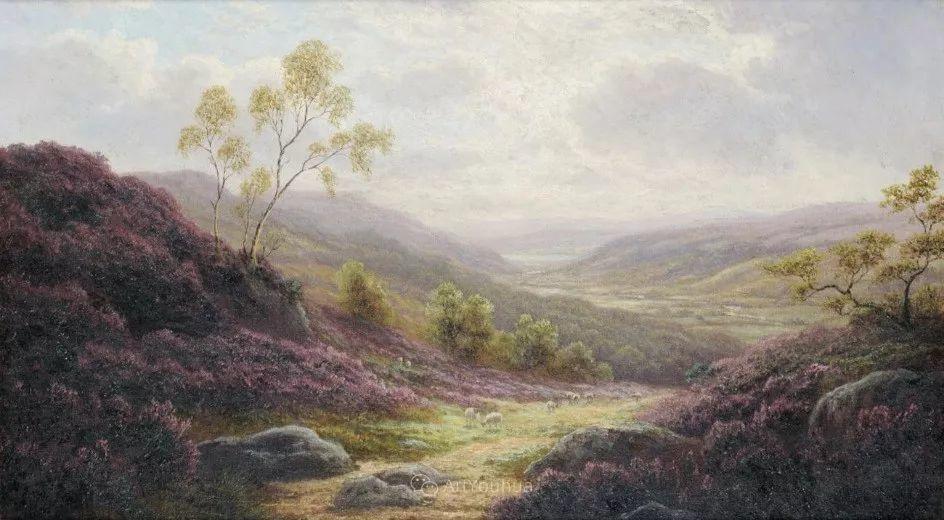 沐浴在温暖、明亮阳光下的原始风景,英国艺术家威廉·梅勒插图17