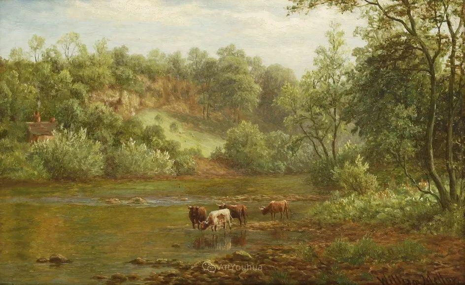 沐浴在温暖、明亮阳光下的原始风景,英国艺术家威廉·梅勒插图18