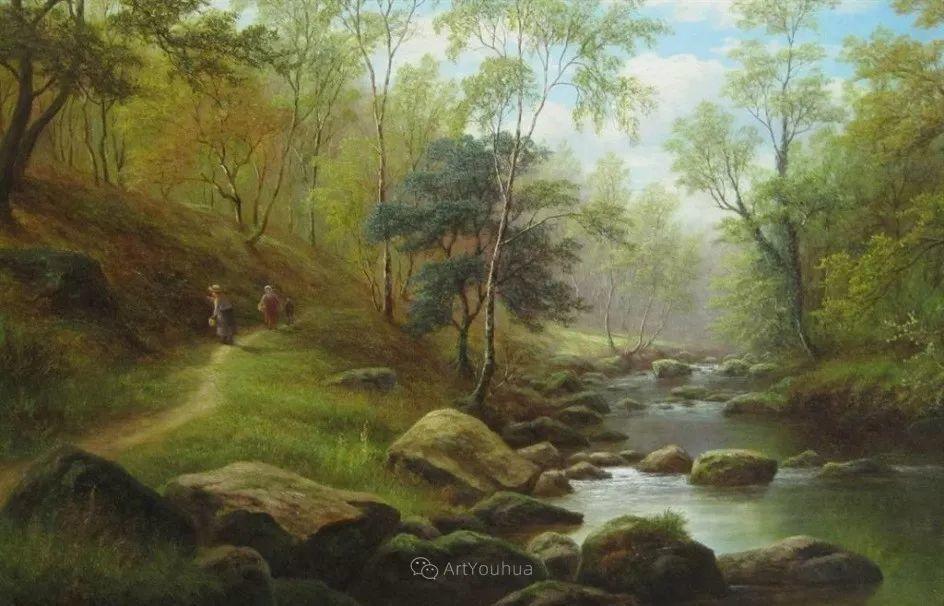 沐浴在温暖、明亮阳光下的原始风景,英国艺术家威廉·梅勒插图20