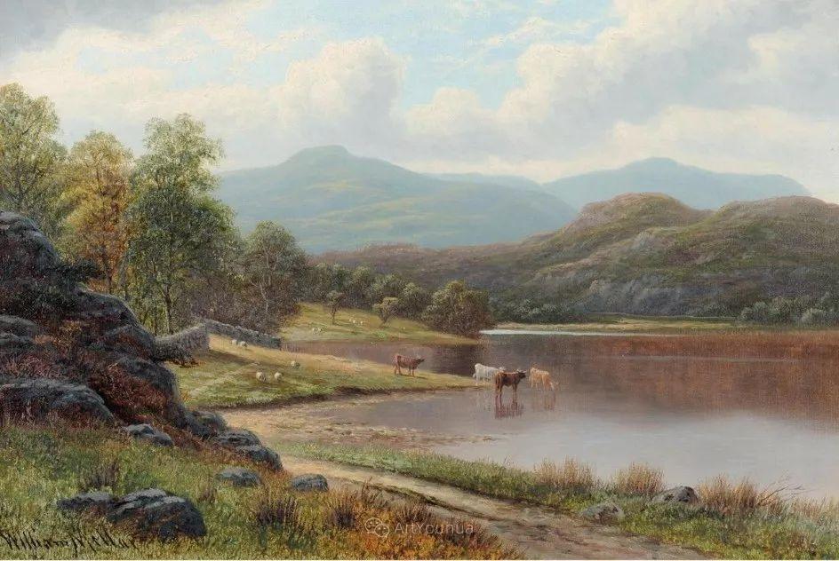 沐浴在温暖、明亮阳光下的原始风景,英国艺术家威廉·梅勒插图26