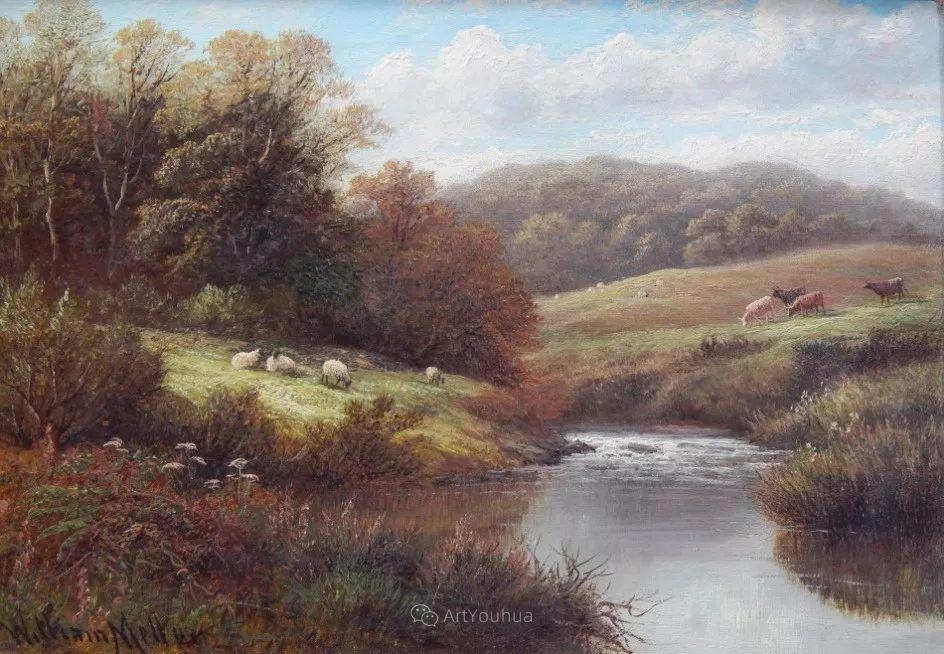 沐浴在温暖、明亮阳光下的原始风景,英国艺术家威廉·梅勒插图30