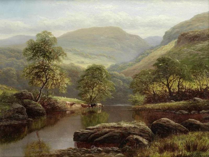 沐浴在温暖、明亮阳光下的原始风景,英国艺术家威廉·梅勒插图34