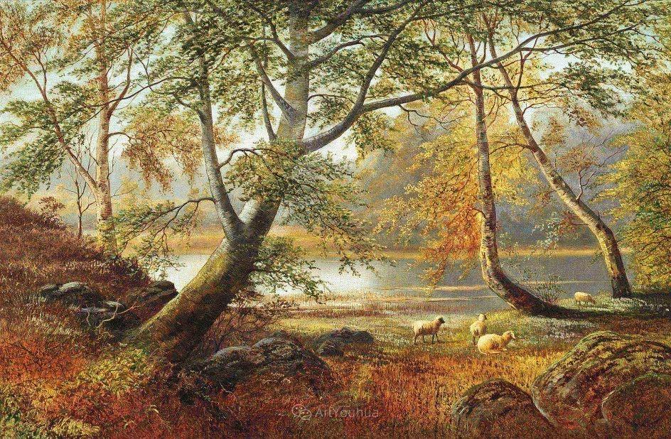 沐浴在温暖、明亮阳光下的原始风景,英国艺术家威廉·梅勒插图37