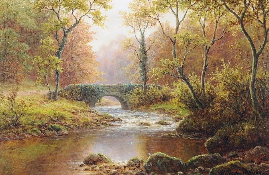 沐浴在温暖、明亮阳光下的原始风景,英国艺术家威廉·梅勒插图38