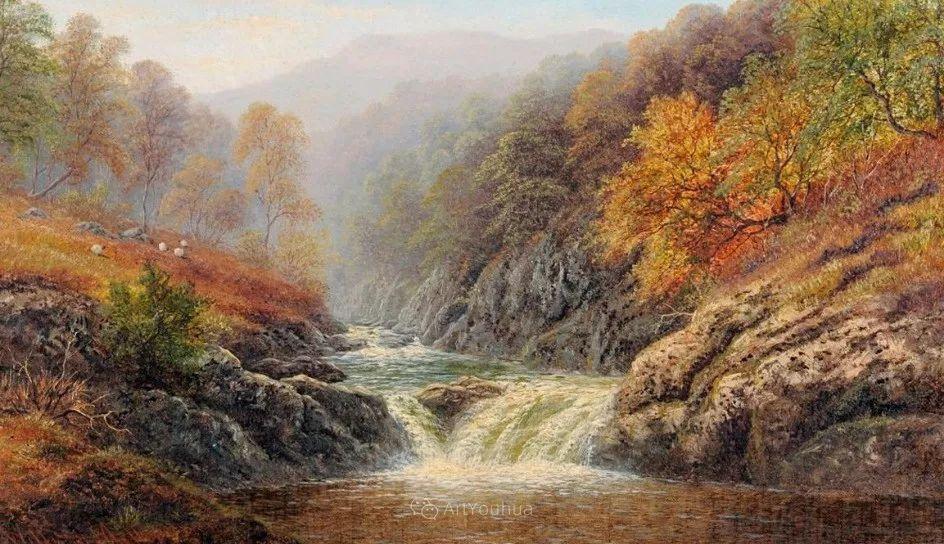沐浴在温暖、明亮阳光下的原始风景,英国艺术家威廉·梅勒插图46