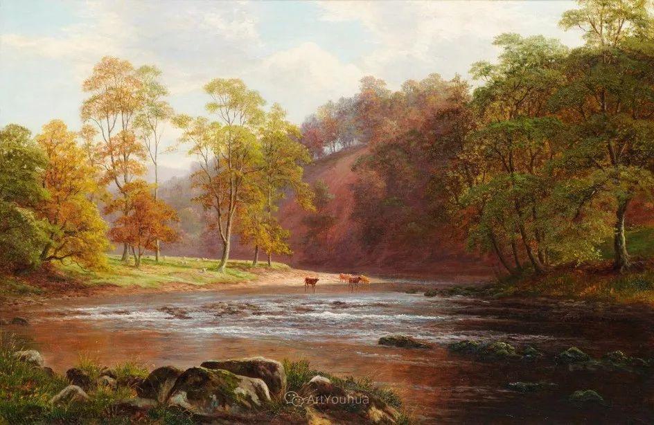 沐浴在温暖、明亮阳光下的原始风景,英国艺术家威廉·梅勒插图53
