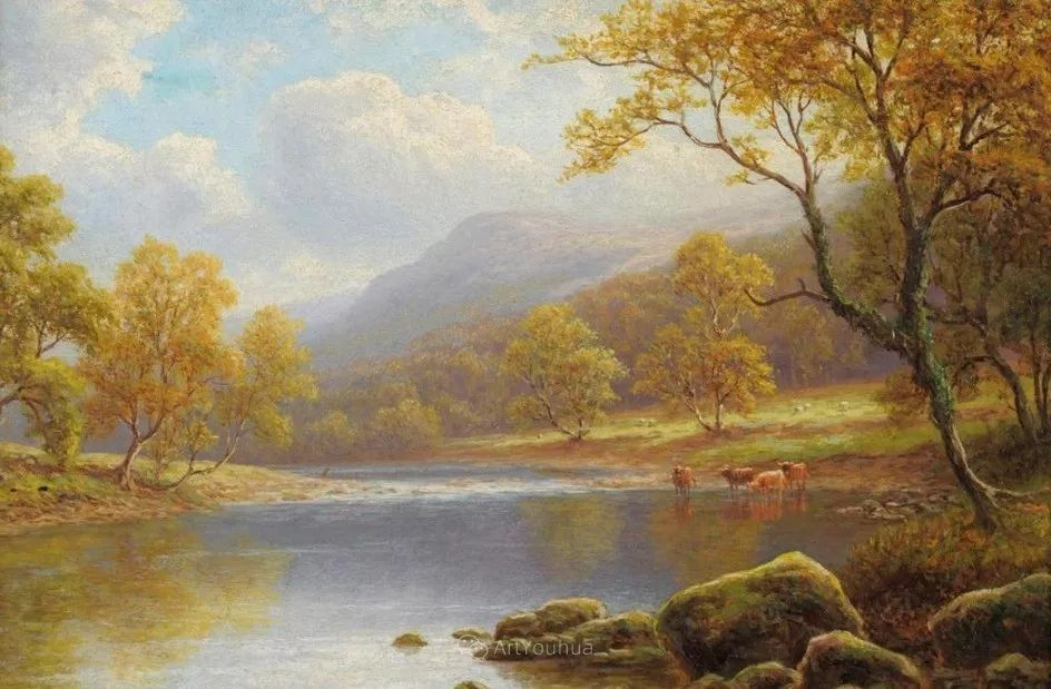 沐浴在温暖、明亮阳光下的原始风景,英国艺术家威廉·梅勒插图55