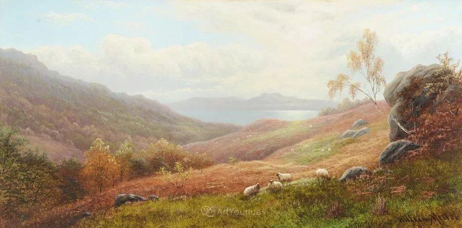 沐浴在温暖、明亮阳光下的原始风景,英国艺术家威廉·梅勒插图56