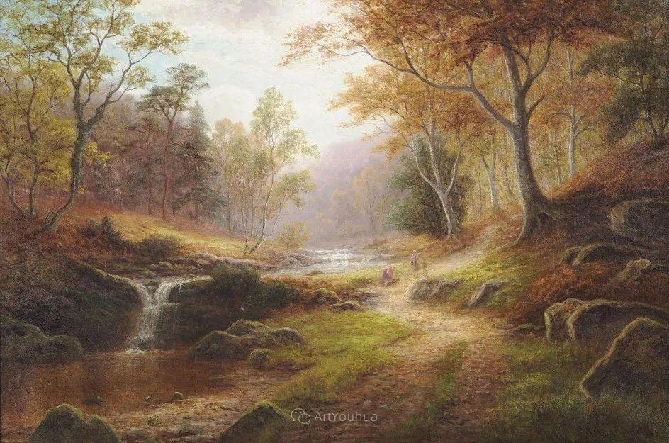 沐浴在温暖、明亮阳光下的原始风景,英国艺术家威廉·梅勒插图57