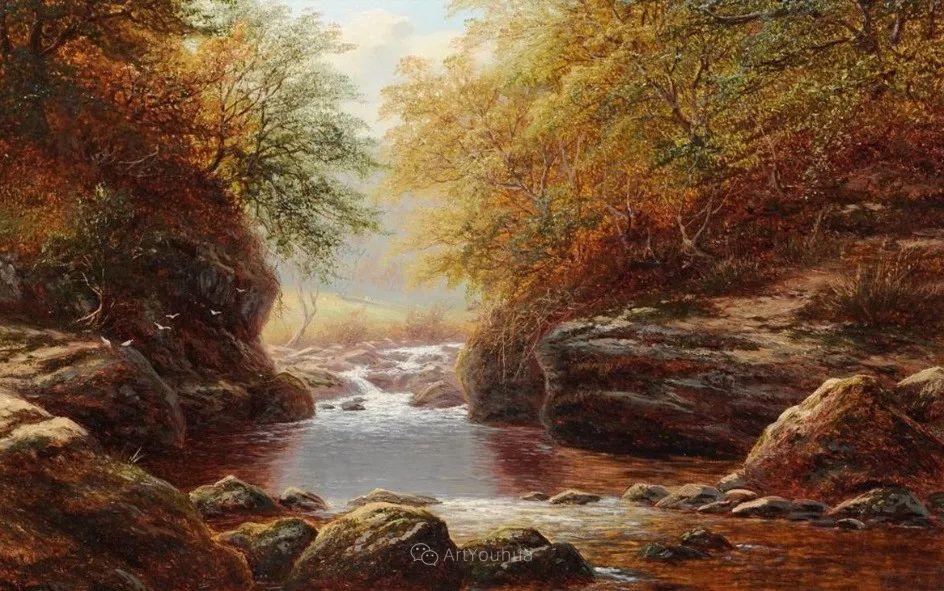 沐浴在温暖、明亮阳光下的原始风景,英国艺术家威廉·梅勒插图58