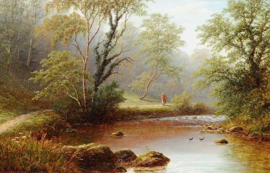 沐浴在温暖、明亮阳光下的原始风景,英国艺术家威廉·梅勒插图59