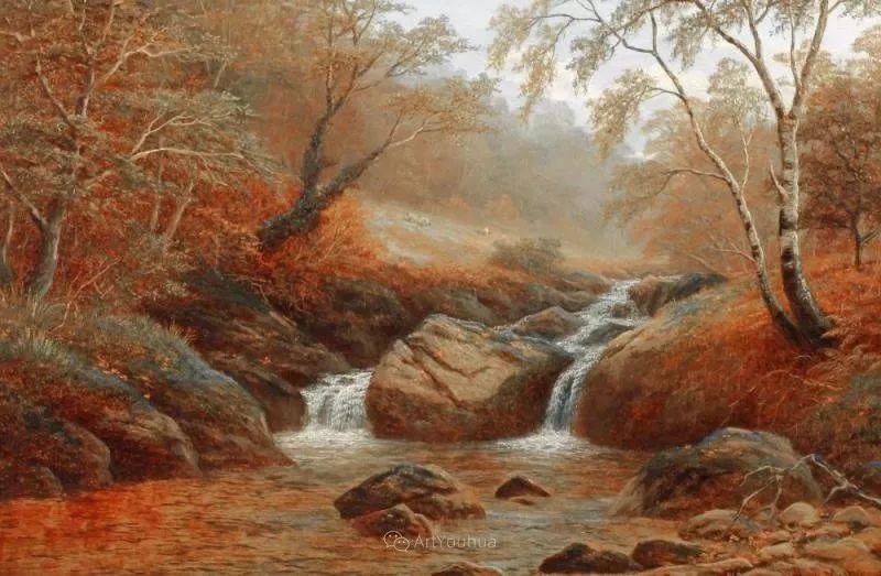 沐浴在温暖、明亮阳光下的原始风景,英国艺术家威廉·梅勒插图70