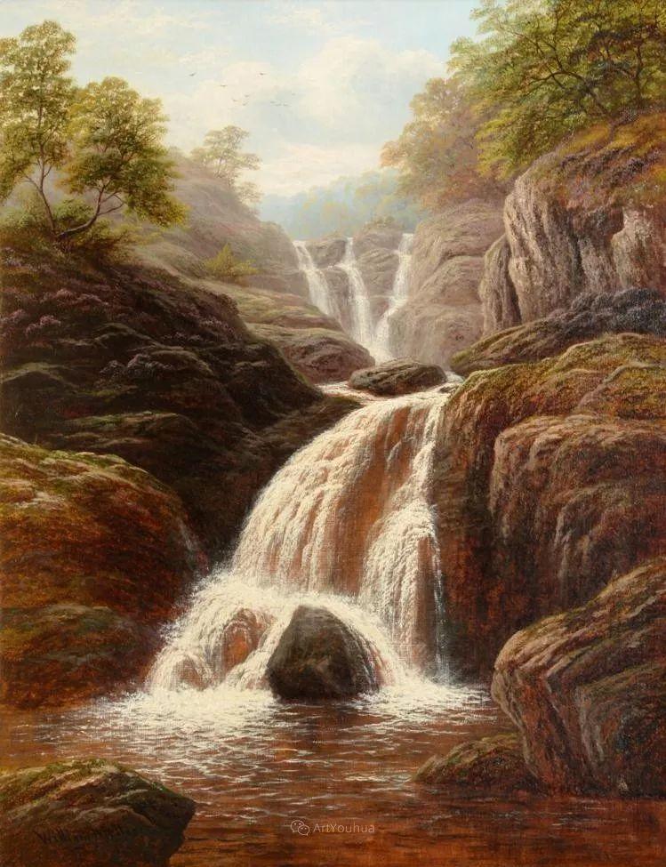 沐浴在温暖、明亮阳光下的原始风景,英国艺术家威廉·梅勒插图71