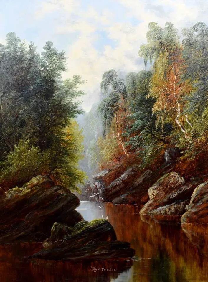 沐浴在温暖、明亮阳光下的原始风景,英国艺术家威廉·梅勒插图75