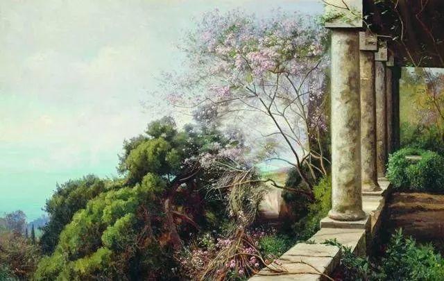 风景画,俄罗斯艺术家约瑟夫·克拉奇科夫斯基(1854-1914)插图3