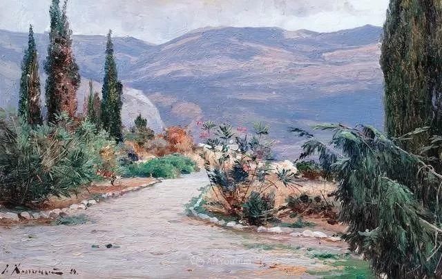 风景画,俄罗斯艺术家约瑟夫·克拉奇科夫斯基(1854-1914)插图7