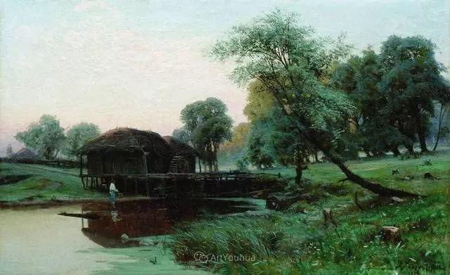 风景画,俄罗斯艺术家约瑟夫·克拉奇科夫斯基(1854-1914)插图9