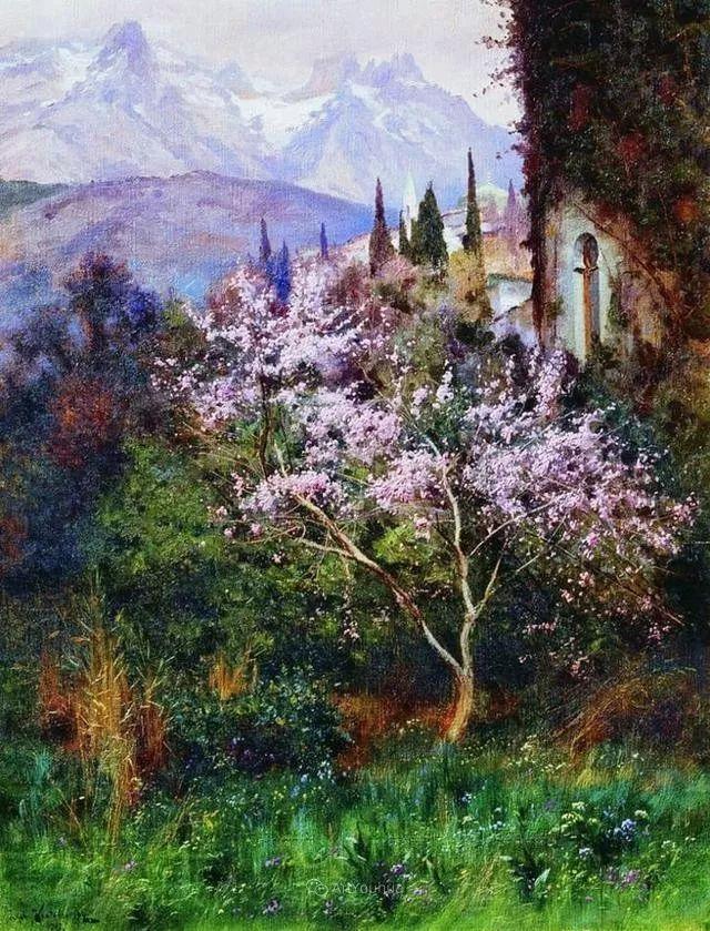 风景画,俄罗斯艺术家约瑟夫·克拉奇科夫斯基(1854-1914)插图13