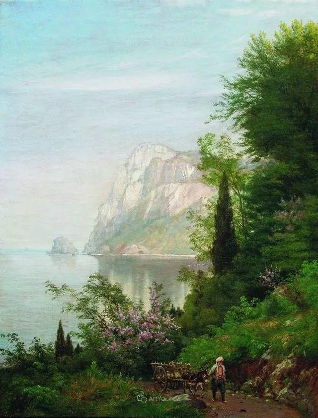 风景画,俄罗斯艺术家约瑟夫·克拉奇科夫斯基(1854-1914)插图15