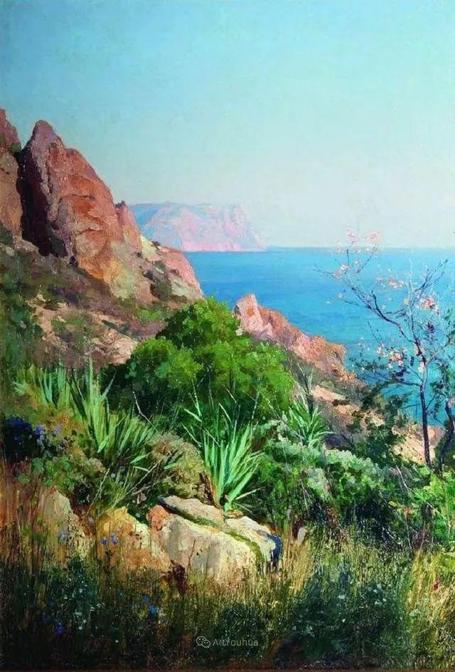 风景画,俄罗斯艺术家约瑟夫·克拉奇科夫斯基(1854-1914)插图19