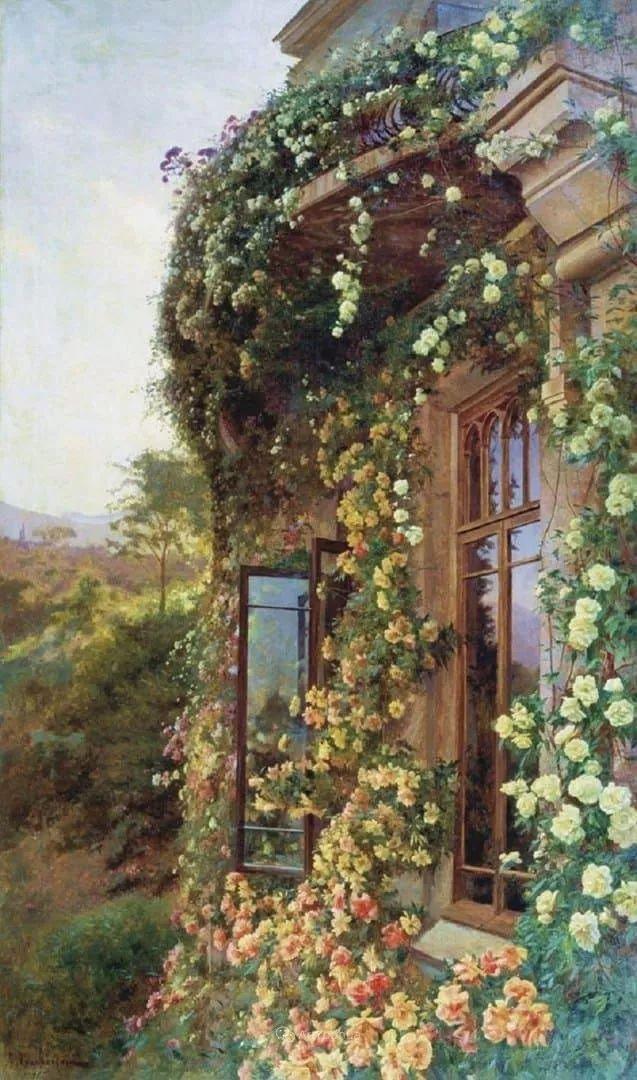 风景画,俄罗斯艺术家约瑟夫·克拉奇科夫斯基(1854-1914)插图21