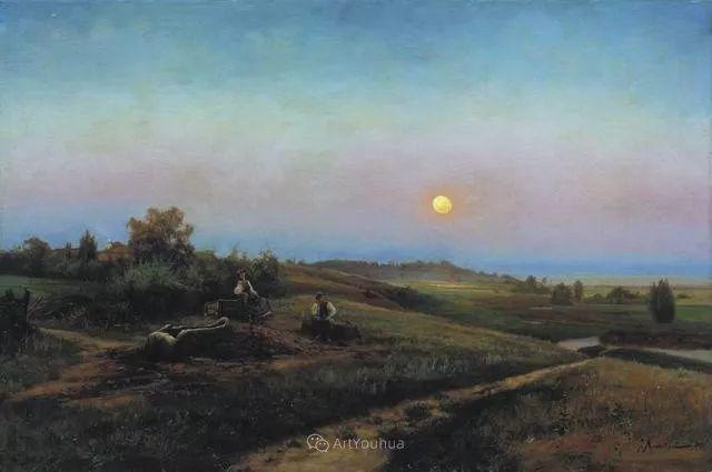 风景画,俄罗斯艺术家约瑟夫·克拉奇科夫斯基(1854-1914)插图25