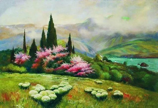 风景画,俄罗斯艺术家约瑟夫·克拉奇科夫斯基(1854-1914)插图29