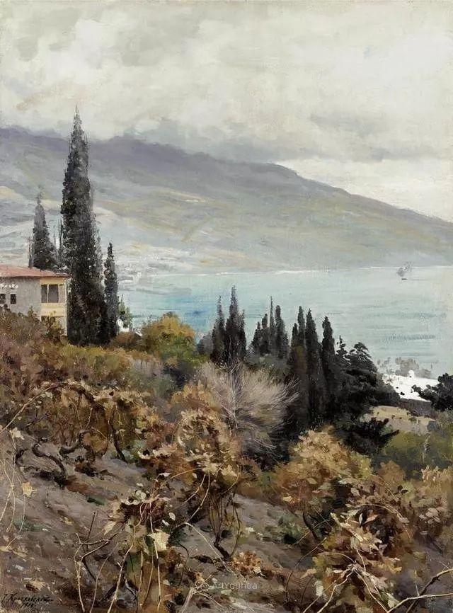 风景画,俄罗斯艺术家约瑟夫·克拉奇科夫斯基(1854-1914)插图33
