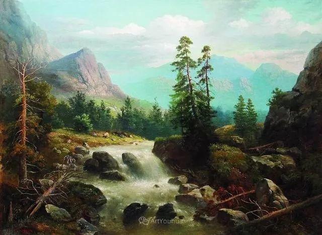 风景画,俄罗斯艺术家约瑟夫·克拉奇科夫斯基(1854-1914)插图37