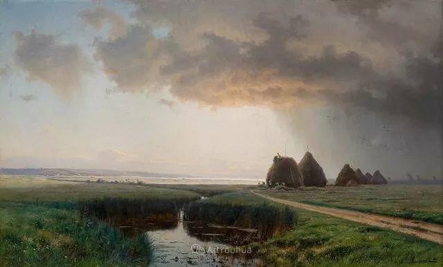 风景画,俄罗斯艺术家约瑟夫·克拉奇科夫斯基(1854-1914)插图39