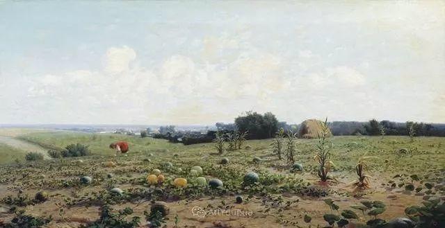 风景画,俄罗斯艺术家约瑟夫·克拉奇科夫斯基(1854-1914)插图45