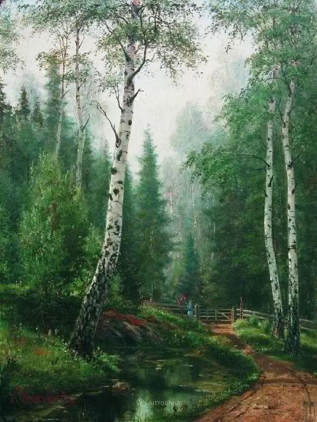 风景画,俄罗斯艺术家约瑟夫·克拉奇科夫斯基(1854-1914)插图49