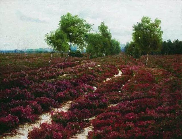 风景画,俄罗斯艺术家约瑟夫·克拉奇科夫斯基(1854-1914)插图57