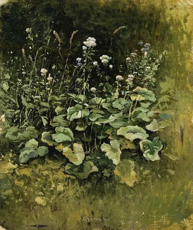 风景画,俄罗斯艺术家约瑟夫·克拉奇科夫斯基(1854-1914)插图59