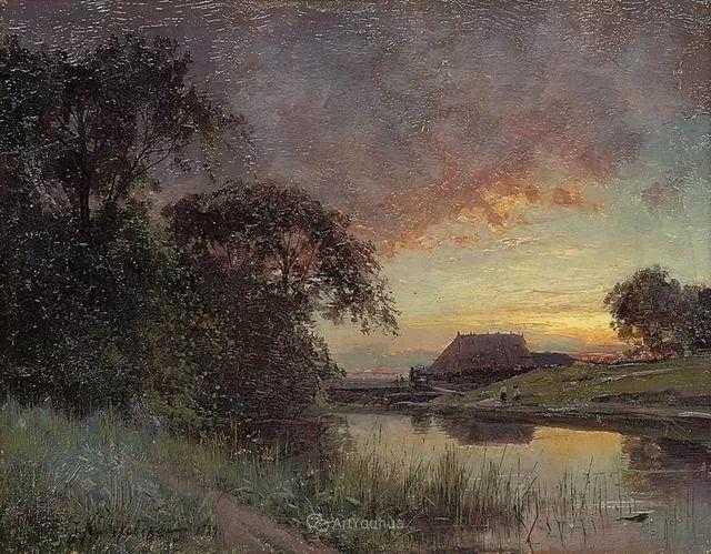 风景画,俄罗斯艺术家约瑟夫·克拉奇科夫斯基(1854-1914)插图63