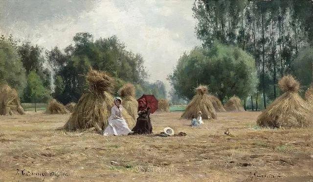 风景画,俄罗斯艺术家约瑟夫·克拉奇科夫斯基(1854-1914)插图65