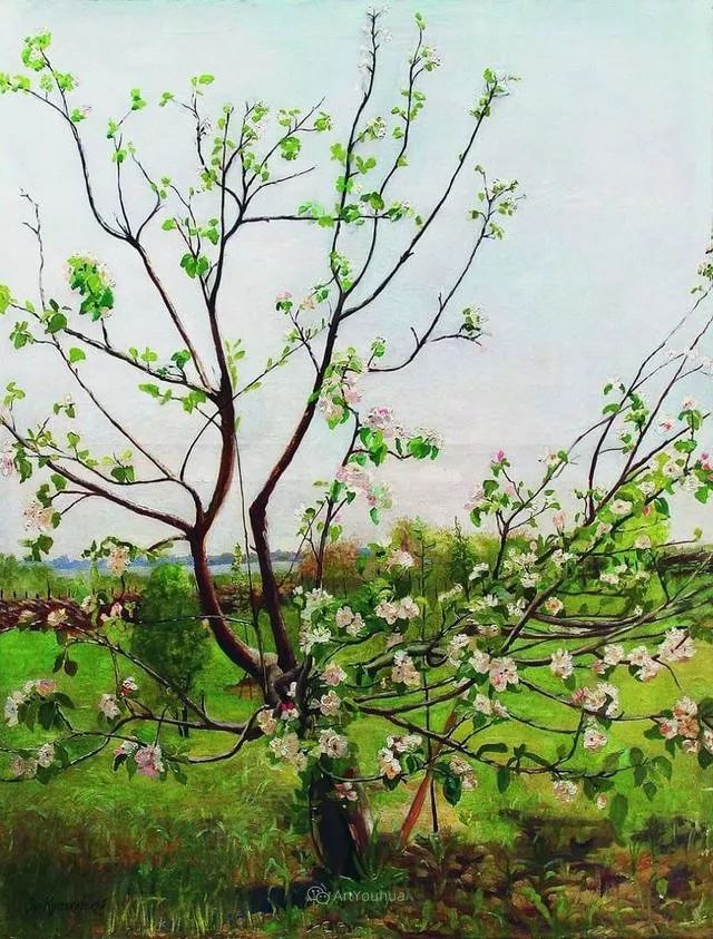风景画,俄罗斯艺术家约瑟夫·克拉奇科夫斯基(1854-1914)插图67