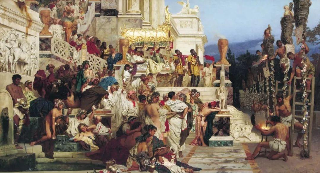 古代的场景画,波兰艺术家亨利克·西米拉兹基插图18