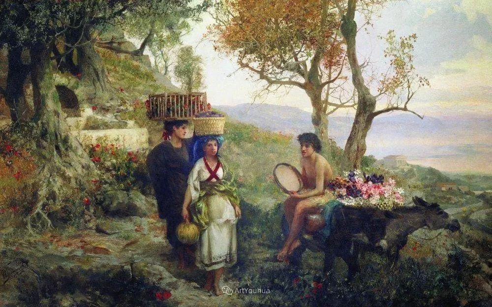 古代的场景画,波兰艺术家亨利克·西米拉兹基插图23