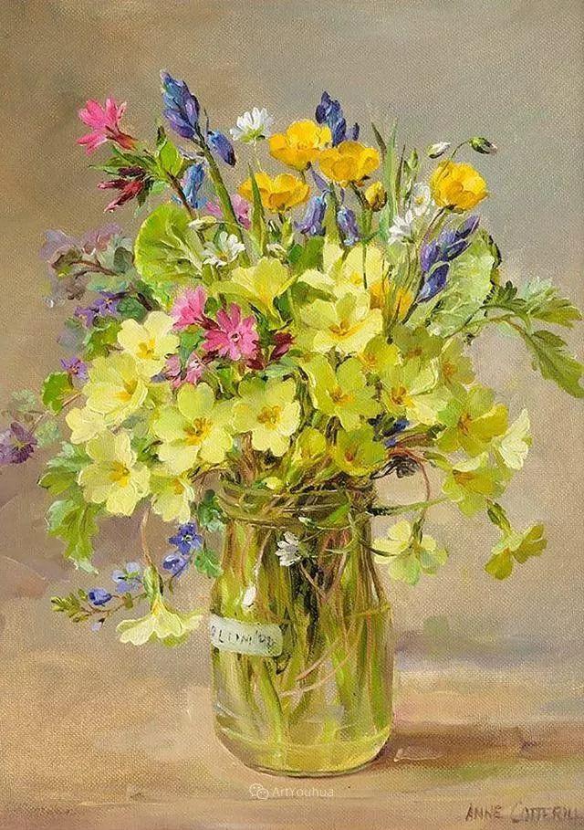 静物花卉,英国画家安妮·科特里尔插图5