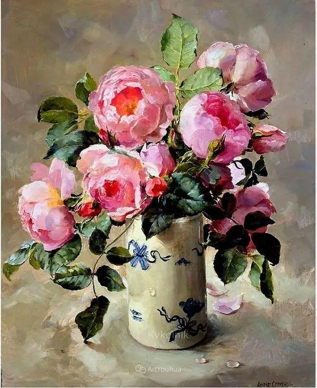 静物花卉,英国画家安妮·科特里尔插图7