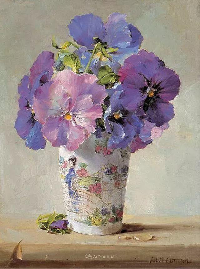 静物花卉,英国画家安妮·科特里尔插图9