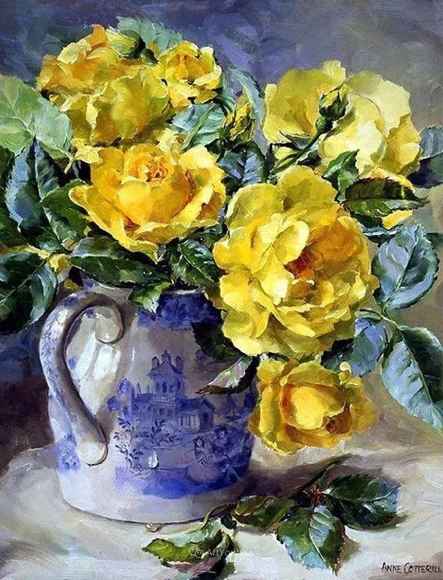静物花卉,英国画家安妮·科特里尔插图13