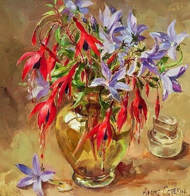 静物花卉,英国画家安妮·科特里尔插图15
