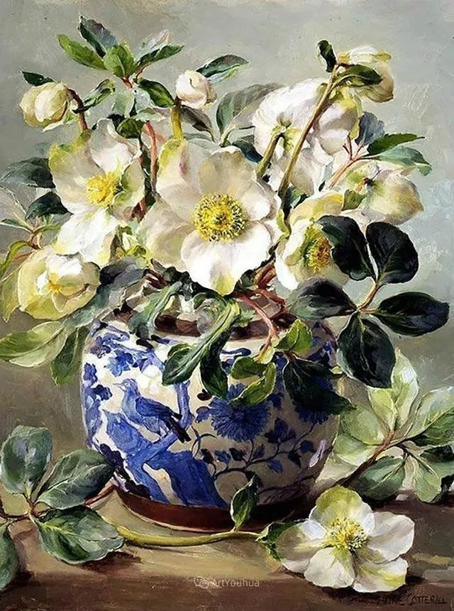 静物花卉,英国画家安妮·科特里尔插图23